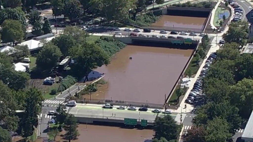 Water flooded onto Philadelphia's Vine Street Expressway