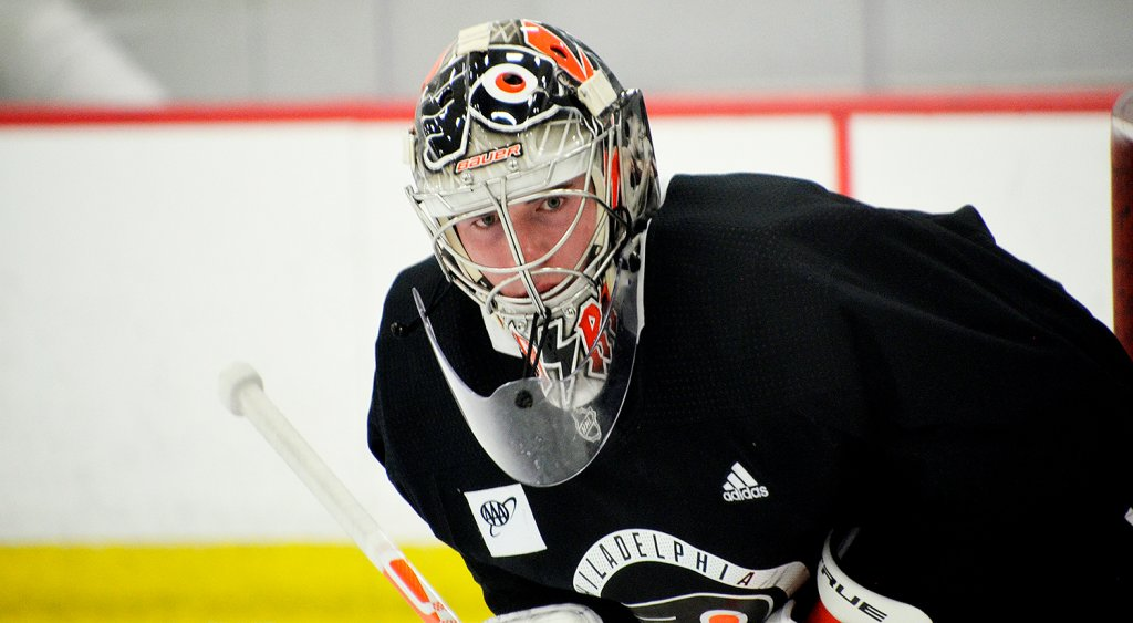 Flyers goalie Carter Hart in his new helmet