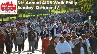 People walking at the AIDS Walk Philly event