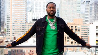 Meek Mill poses for a portrait at the Roc Nation offices in New York