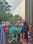 [UGCPHI-CJ-weather]After a quick storm, a rainbow above the West Chester Keep Families Together Rally @NBCPhiladelphia