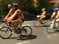 Naked Bike Riders Travel Through Philly