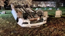 Crews Rescue Driver After Car Crashes at Local Cemetery