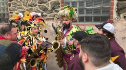 Jason Kelce Performs During Mummers Mardi Gras Parade