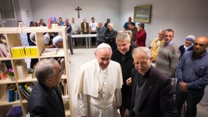 Pope Visits Vatican's New Homeless Shelter