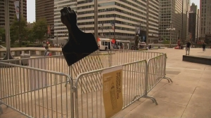 New Afro Pick Sculpture Near Rizzo Statue Sparks Debate
