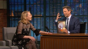 'Late Night': Elisabeth Moss Has a Cubs 'Handmaid's' Bonnet