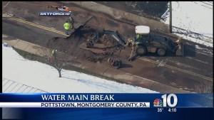Crews Work to Repair Water Main Break in Pottstown