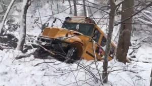 School Bus Slides Off Snowy Maryland Road