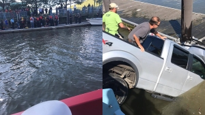 Man Tries to Rescue Driver as Vehicle Sinks Into River