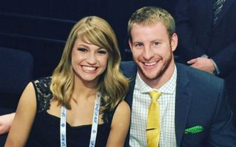 Carson Wentz's Girlfriend Caught Him Watching Game Film Under the Table on a Date
