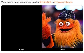 Flyers Mascot Gritty Shares His Own #10YearChallenge Photo