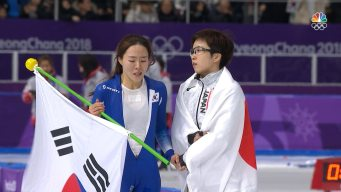Nao Kodaira and Lee Sang-Hwa Embrace After Women's 500m