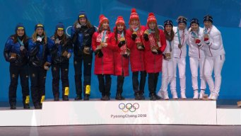 Medal Ceremony: Belarus Gets Gold for Women's 4x6km Relay