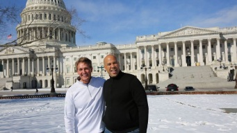 Sens. Booker and Flake Hold 'Snowball Duel' on Capitol Lawn
