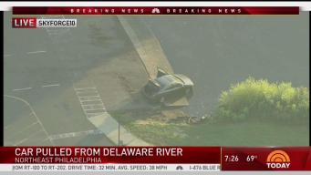 Crews Pull Car From Delaware River