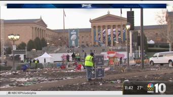 Clean Up Begins After Eagles Parade