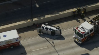 Vehicle Overturns on I-95 South in Philly