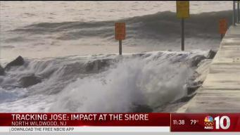 Jose & High Tide Cause Beach Erosion at Jersey Shore