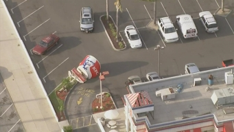 Wild Winds Topple Giant KFC Bucket in SoCal