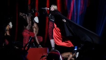Madonna Falls Off Stage at Brit Awards