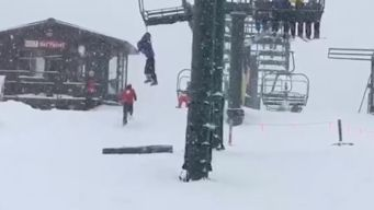 Camera Rolls as Boy Dangles From Chairlift