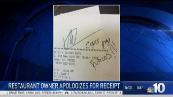 Officers Receive Ugly Note on Restaurant Receipt