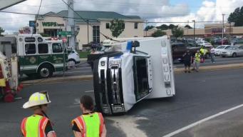 Ambulance Overturns Along Delaware Road