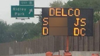 I-95 Sign in Delco Hacked Twice With Vulgar Message