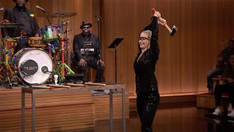 'Tonight': Lawrence, Fallon Face Off in Axe-Throwing