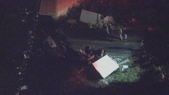 Tractor-Trailer Falls Off Overpass, Lands on Road Below