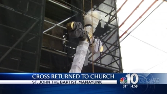 Crews Restore Cross to Manayunk Church
