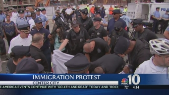 Police Use Saws to Remove Demonstrators at Immigration Protest