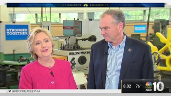 Democrats Hillary Clinton, Tim Kaine Ride Across Pennsylvania