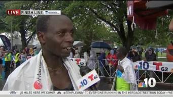 Daniel Kemoi After Winning the Blue Cross Broad Street Run a Second Time