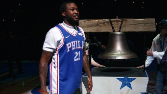 Meek Mill Kicks Off Sixers-Heat Game 5 by Ringing Bell