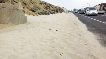 Jersey Shore Sidewalk Still Blocked by Sand From Hurricane