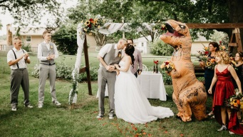 Maid of Honor Wears T. Rex Costume to Sister's Wedding