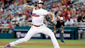 Aaron Nola Overpowers Mookie Betts, Mike Trout in All-Star Game Debut