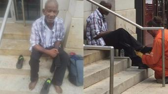 PECO Worker Gives Shoes to Homeless Man