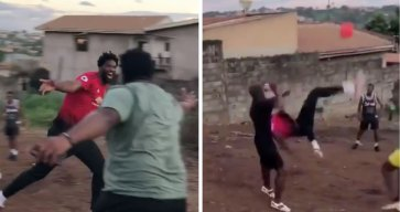 Joel Embiid Attempts Bicycle Kick at Neighborhood Soccer Game in Cameroon