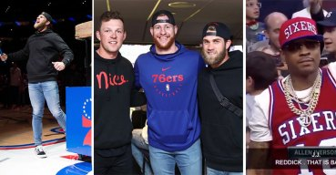Bryce Harper Meets Some Philly Sports Legends at the Sixers Game
