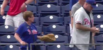 'Dog' Phillies Fan Steals Franco's First Home Run From Lovely Old Lady