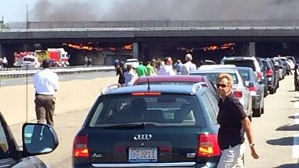 NJ Turnpike Shut Down After Truck Catches Fire Under Overpass