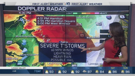 NBC10 First Alert Weather meteorologist Sheena Parveen is tracking s severe thunderstorm warning for parts of Bucks County and Mercer County. The storms are bringing heavy rain, lots of lightning and the possibility of baseball-sized hail.