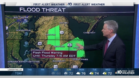 It's a rainy start to Thursday morning, NBC10 meteorologist Bill Henley has issued a First Alert due to possible flash floods. Temperatures will be in the 60s for most of the area.
