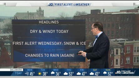 <p>A snow storm from the west is moving toward the Philadelphia region. By Wednesday, we can expect snow and ice that will be turning into rain.</p>