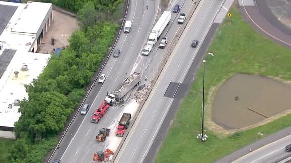 Raw Video: Trash Truck Wreck Backs Up Turnpike