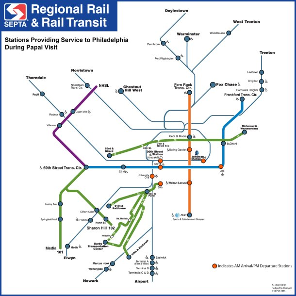 More SEPTA Pope Passes Go On Sale Updated Service Map
