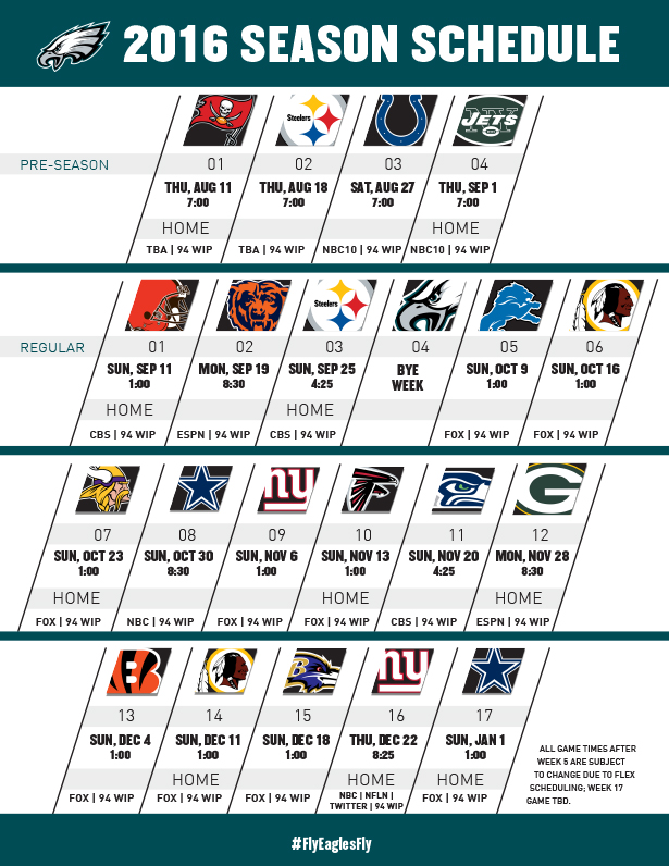 Philadelphia eagles unveil 2016 nfl season schedule nbc 10 philadelphia - Reasons always schedule regular home inspection ...
